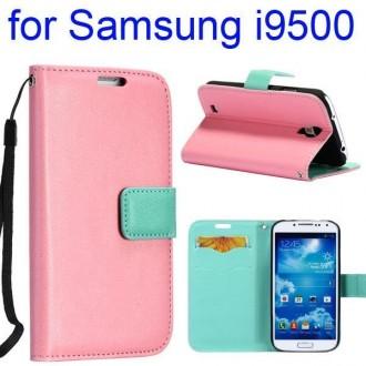 Etui cuir bi-colore turquoise et rose avec support TV, lanière et porte carte pour Samsung Galaxy S4 i9500
