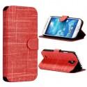Etui simili-cuir rouge avec support TV et porte carte pour Samsung Galaxy S4 i9500