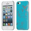 Coque plastique motif papillons et fleurs fond bleu pour Apple iPhone 5C