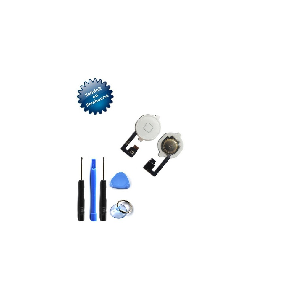 Nappe + bouton home blanc pour Apple iPhone 4 + outils