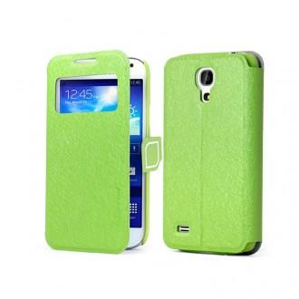 Etui flip cover fonction veille pour Samsung Galaxy S4 Mini i9190 vert