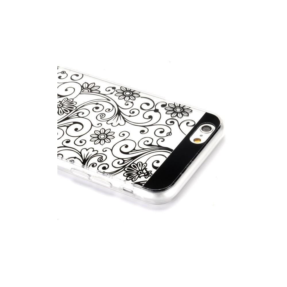 Coque iPhone 6 motif fleurs noires