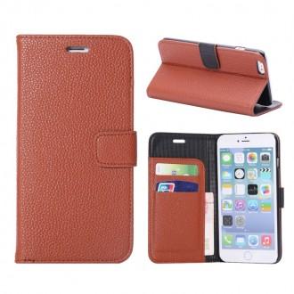 Etui portefeuille iPhone 6 Plus simili cuir marron