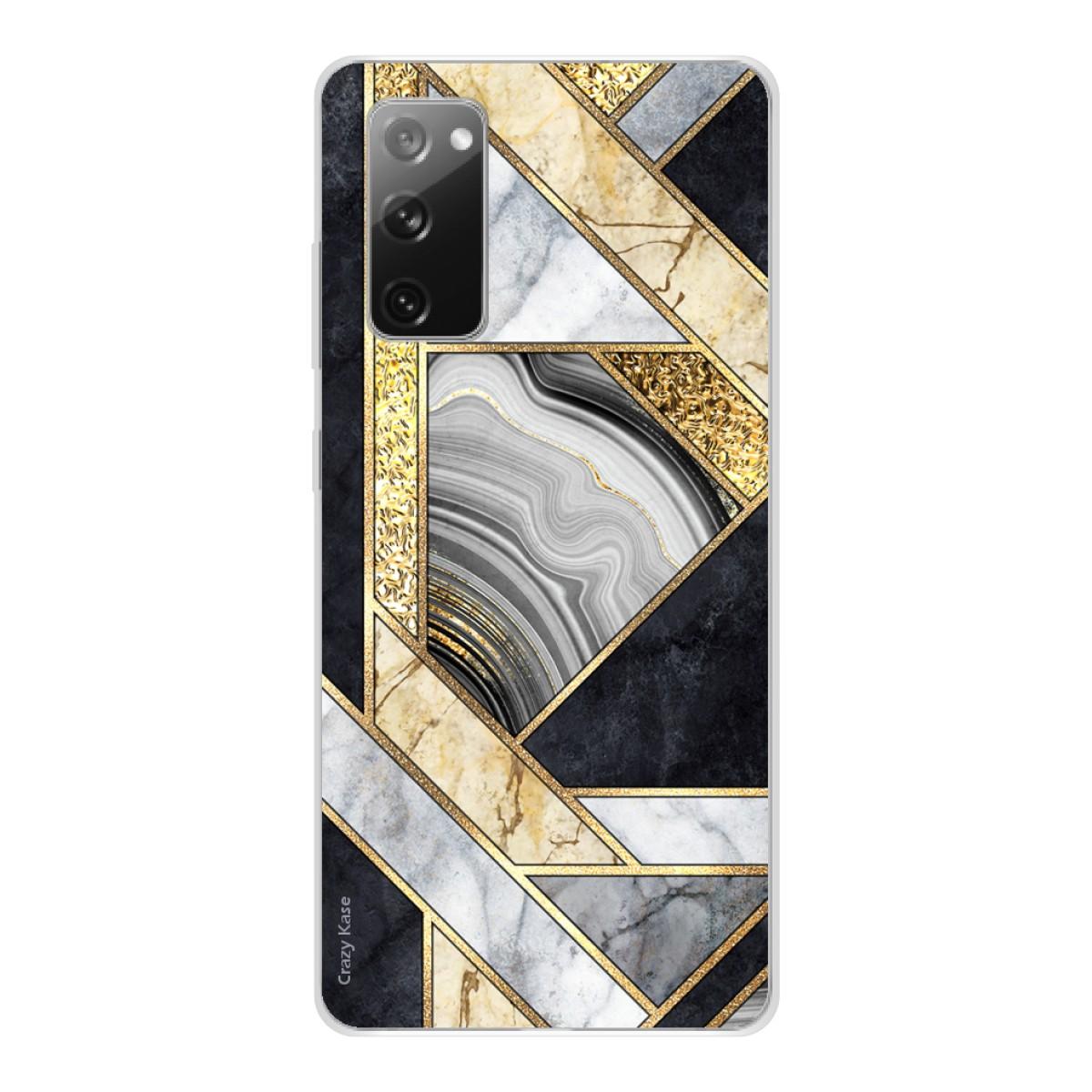 Coque Samsung Galaxy S20 FE en silicone motif Marbre noir et doré ...