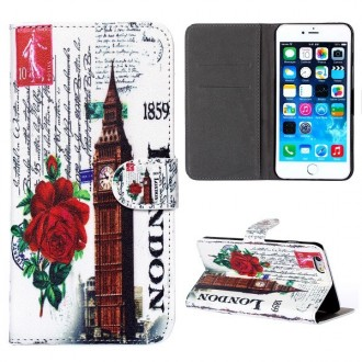 Etui iPhone 6 Plus Big Ben fleurs rouges