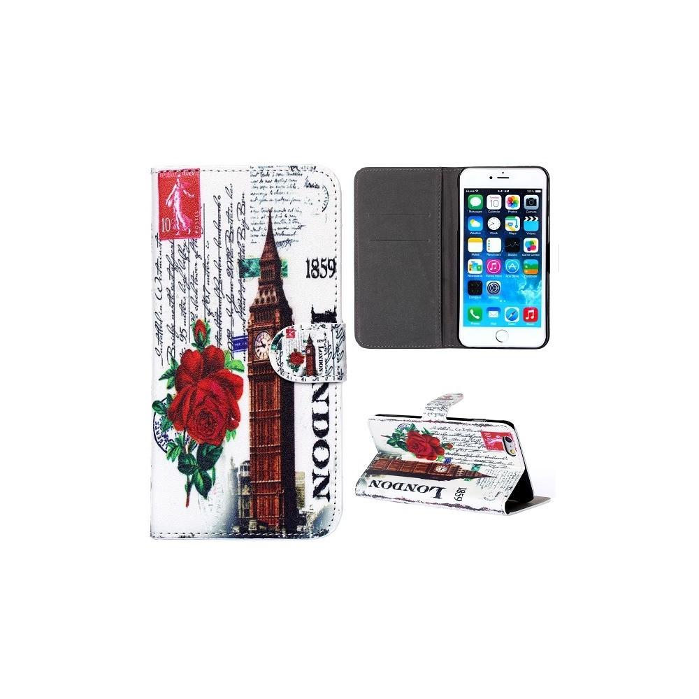 Etui iPhone 6 Plus Big Ben fleurs rouges