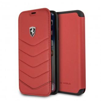 Etui iPhone X Porte-cartes en cuir véritable Rouge - Ferrari