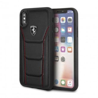 Coque iPhone X noir en cuir véritable - Ferrari
