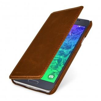 Etui pour Samsung Galaxy Alpha en cuir véritable cognac, Book Type