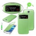 Pack étui flip cover view vert + film protecteur + stylet + câble micro USB pour Samsung Galaxy S4 i9500