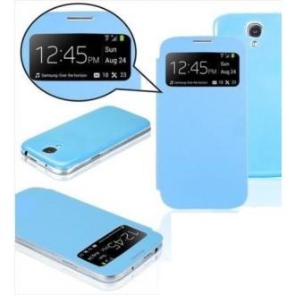 Pack étui flip cover view bleu ciel + film protecteur + stylet + câble micro USB pour Samsung Galaxy S4 i9500