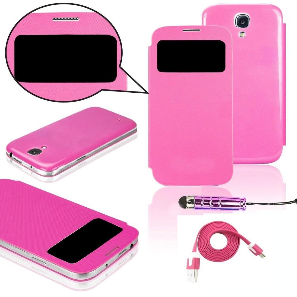 Pack étui flip cover view fushia + film protecteur + stylet + câble micro USB pour Samsung Galaxy S4 Mini i9190