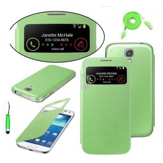 Pack étui flip cover view vert + film protecteur + stylet + câble micro USB pour Samsung Galaxy S4 Mini i9190