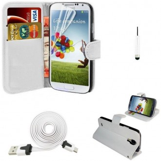 Pack étui simili cuir blanc + câble + film pour Samsung Galaxy S4 i9500