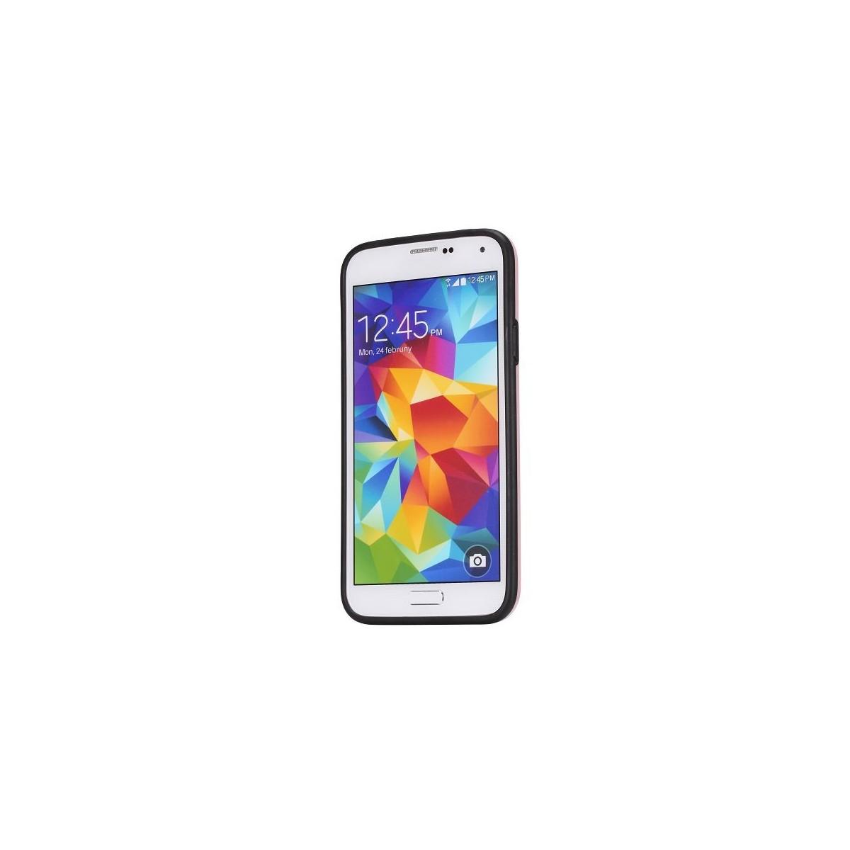 Coque Galaxy S5 motif 3D Cube noir contour rose