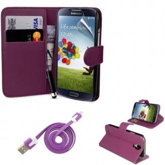 Pack étui simili cuir violet + câble + film pour Samsung Galaxy S4 i9500