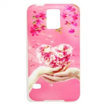 Coque Galaxy S5 effet 3D motif coeur et fleur rose