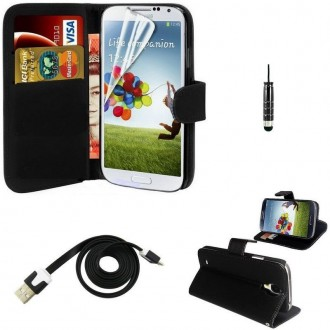 Pack étui simili cuir noir + câble + film pour Samsung Galaxy S4 Mini i9190