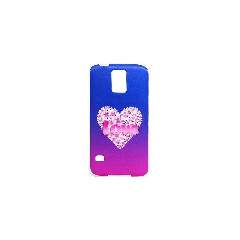 Coque Galaxy S5 effet 3D motif coeur et fleur Love