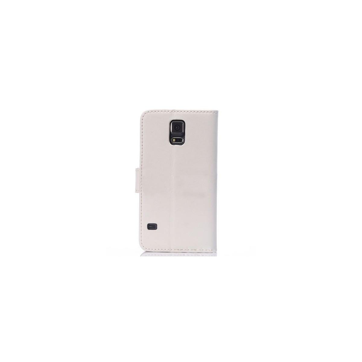 Etui Portefeuille Galaxy S5 simili-cuir blanc