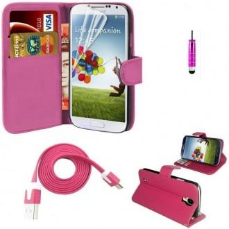 Pack étui simili cuir fushia + câble + film pour Samsung Galaxy S4 Mini i9190
