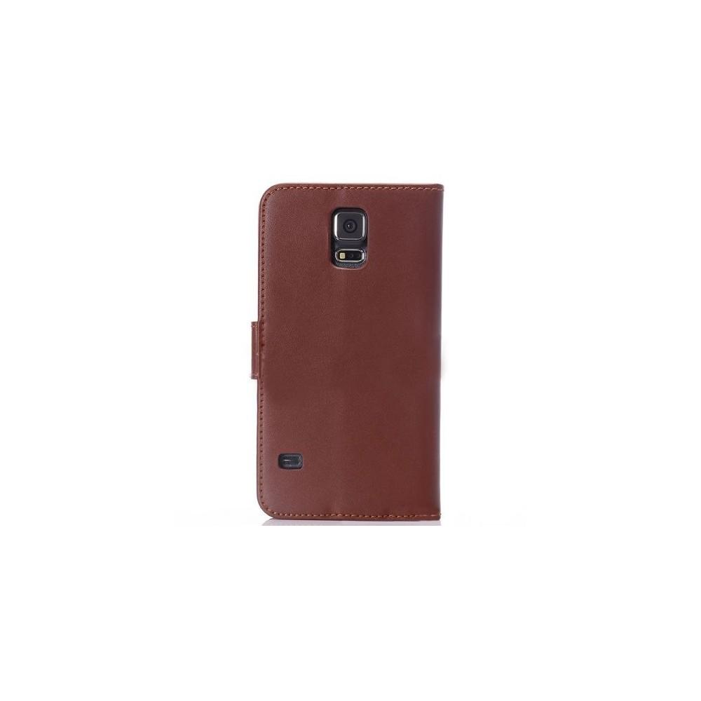 Etui Portefeuille Galaxy S5 simili-cuir marron
