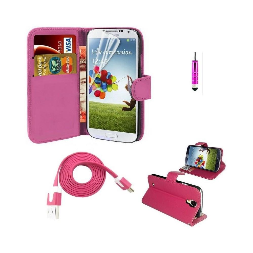 Pack étui simili cuir fushia + câble + film + stylet pour Samsung Galaxy S5 i9600