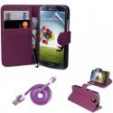 Pack étui simili cuir violet + câble + film + stylet pour Samsung Galaxy S5 i9600