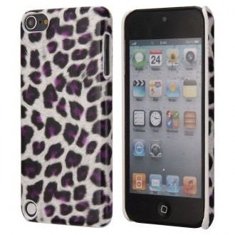 Coque iPod Touch 5 / Touch 6 plastique motif léopard blanc et violet