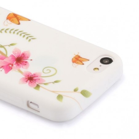 Coque iPhone 5C silicone floral météorite