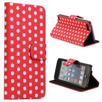 Etui iPod Touch 5 / Touch 6 rouge à pois blanc ouverture horizontale