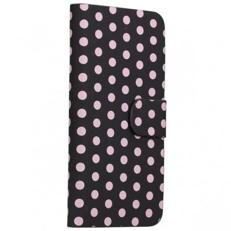 Etui cuir noir à pois blanc ouverture horizontale pour Apple iPod Touch 5