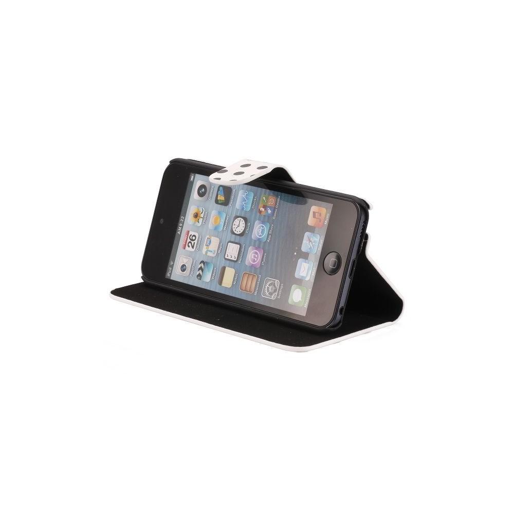 Etui iPod Touch 5 blanc à pois noir ouverture horizontale