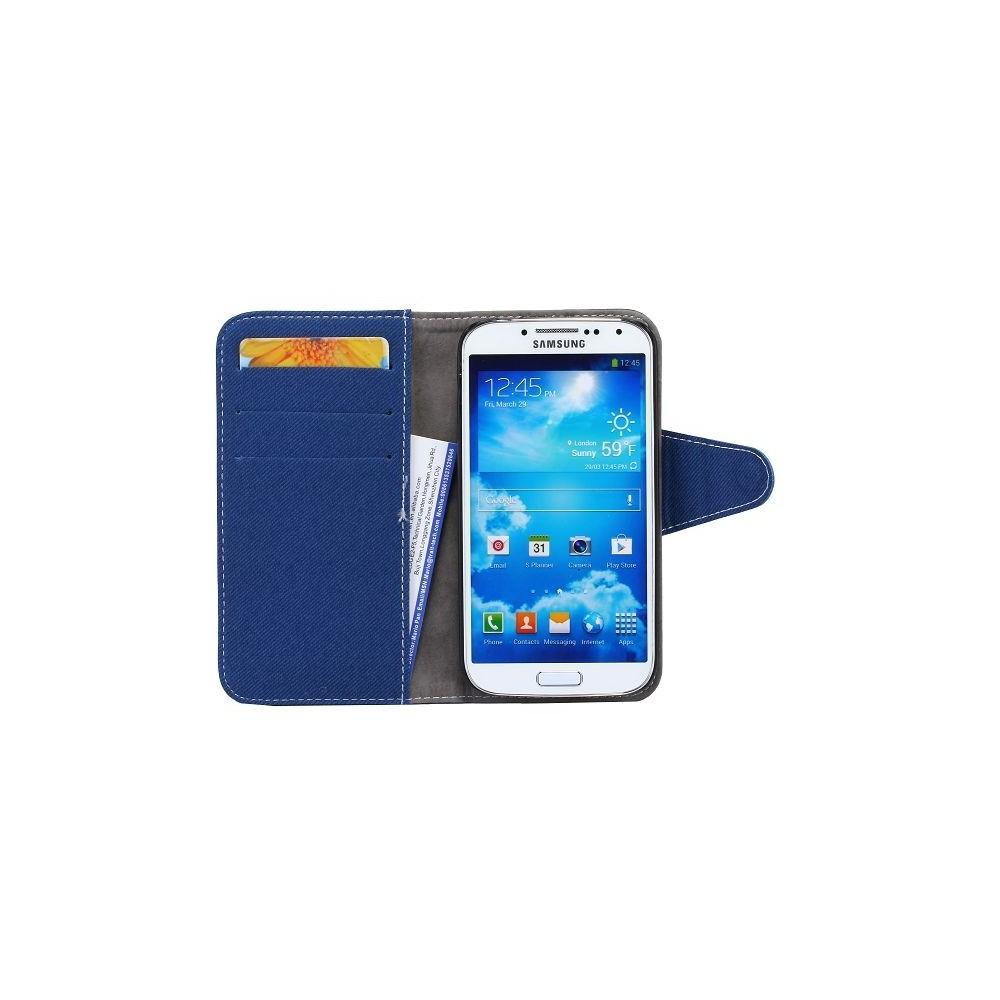 Etui simili-cuir bleu avec support TV et porte carte pour Samsung Galaxy S4 i9500