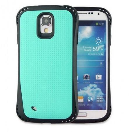 Coque Galaxy S4 bi-matière noire et bleu clair