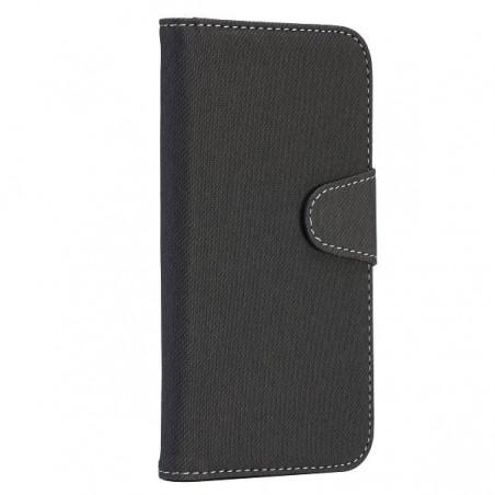 Etui Galaxy S4 simili-cuir gris avec support TV et porte carte