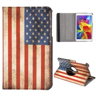 Etui Galaxy Tab 4 8.0 rotatif 360° drapeau USA vintage