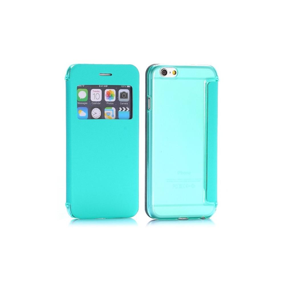Etui flip turquoise + coque arrière avec fenêtre pour Apple iPhone 6 4.7