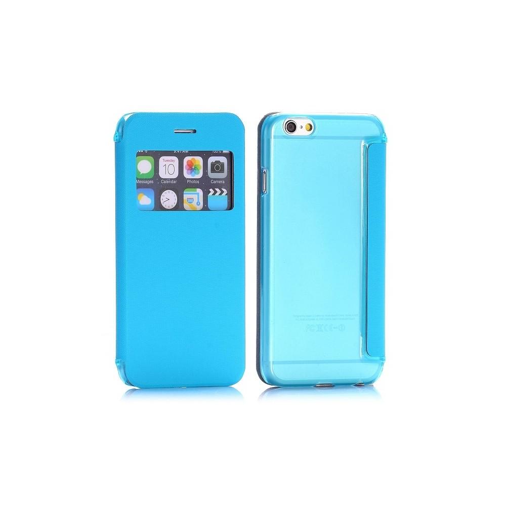 Etui flip bleu + coque arrière avec fenêtre pour Apple iPhone 6 4.7