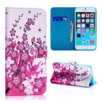 Etui motif fleur japonaise avec porte carte pour Apple iPhone 6 Plus 5.5