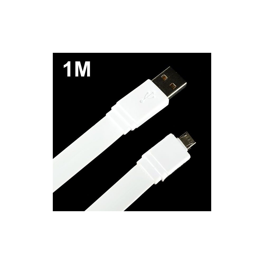 Câble extra plat micro USB longueur 1 mètre Blanc