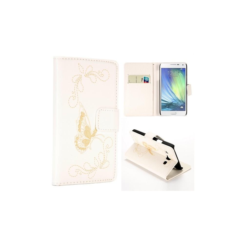 Etui Galaxy A3 motif Papillons Blanc