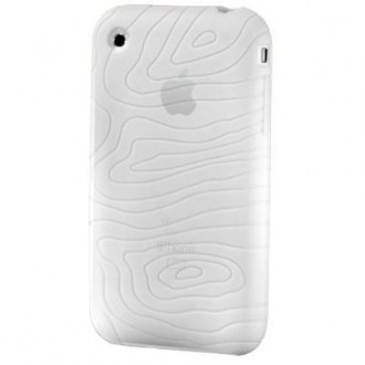 Coque iPhone 3G / 3GS Silicone blanc translucide motif vague