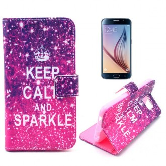 Etui Galaxy S6 Keep Calm and Sparkle rose