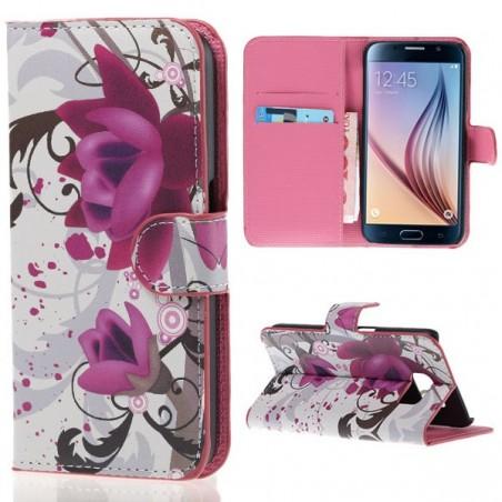 Etui Galaxy S6 Motif Fleur de Lotus violette