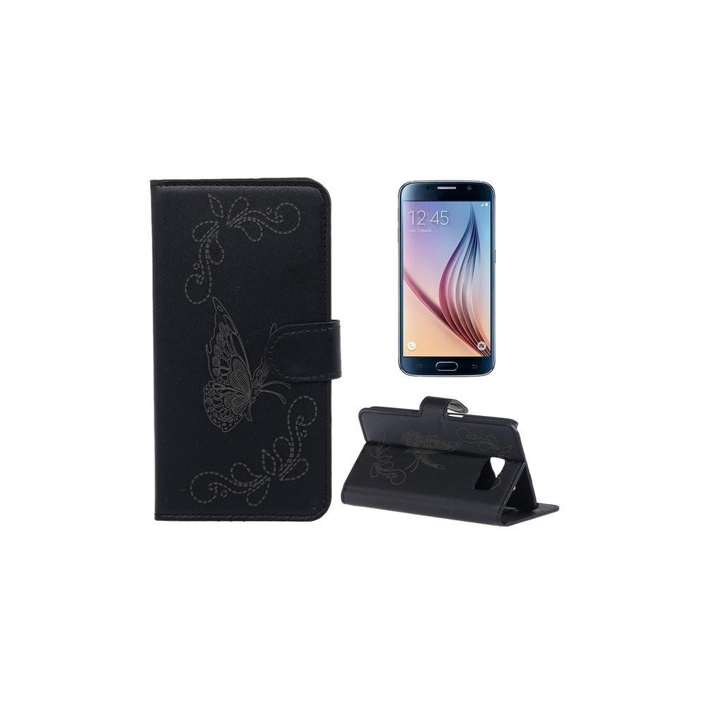Etui Galaxy S6 Motif Papillon Noir