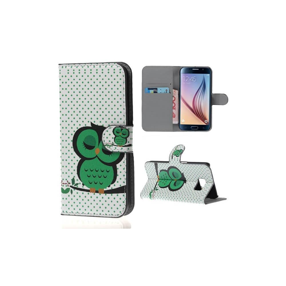 Etui Galaxy S6 Motif Chouette Verte