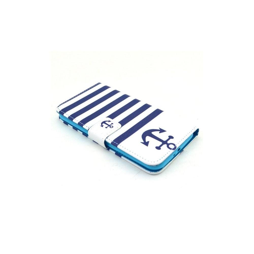 Etui Galaxy S6 Motif Marinière et Ancre Bleu