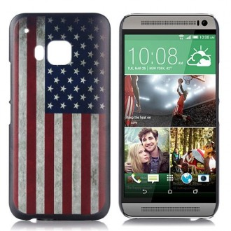 Coque HTC One M9 motif drapeau USA vintage