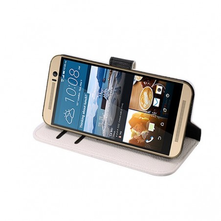 Etui HTC One M9 Simili-cuir Blanc